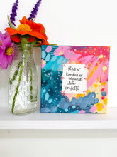 Load image into Gallery viewer, Confetti Kindness 6x6 inch original abstract canvas with embroidery thread accents