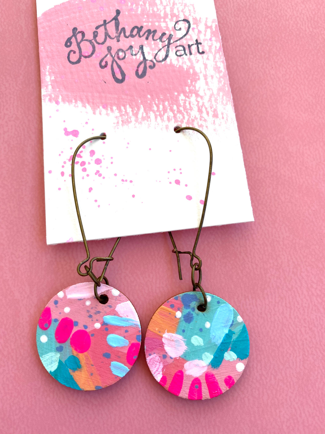 Colorful, Hand Painted Earrings 10 - Bethany Joy Art