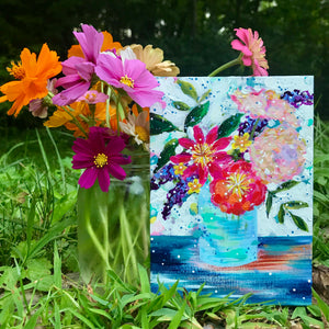 "August Daily Painting Day 17 ""Golden Seaside Bouquet"" 5x7 inch Floral Original - Bethany Joy Art"