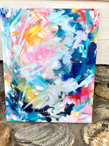 "Abstract Original Painting ""Sunrise at Sea"" 16x20 inch Canvas - Bethany Joy Art"