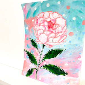 February Flowers Day 14 Peony 8.5x11 inch original painting
