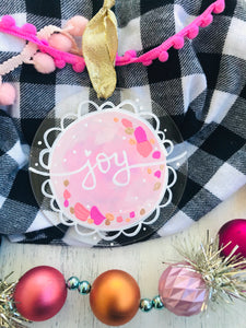 "Hand Painted Clear Acrylic Light Pink Ornament, ""Joy"" - Bethany Joy Art"