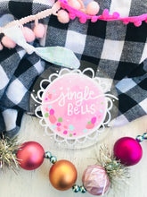 "Load image into Gallery viewer, Hand Painted Clear Acrylic Light Pink Ornament, ""Jingle Bells"" - Bethany Joy Art"
