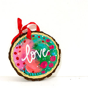 "Hand-painted wooden ornament ""Love"" #2"
