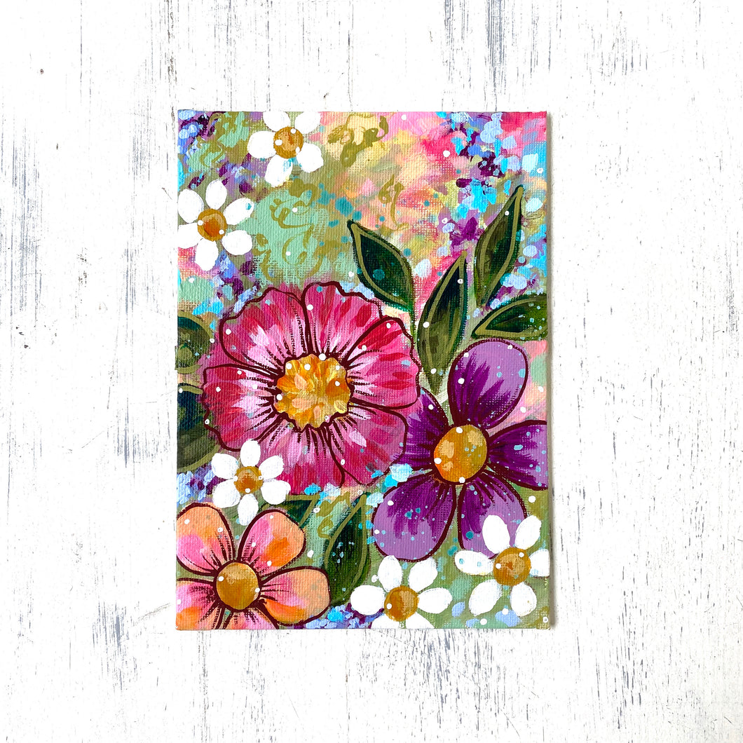 "January Daily Painting Day 4 ""Grow a Happy Life"" 5x7 inch Floral Original - Bethany Joy Art"
