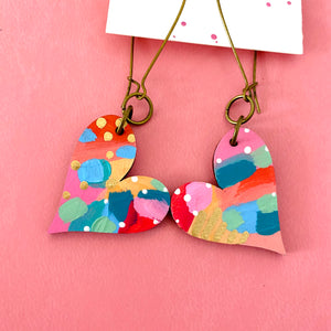 Colorful, Hand Painted, Heart Shaped Earrings 29