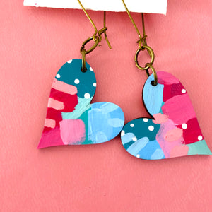 Colorful, Hand Painted, Heart Shaped Earrings 34