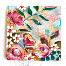 Load image into Gallery viewer, Spring Has Sprung Floral Mixed Media Painting on 8x8 inch wood panel - Bethany Joy Art