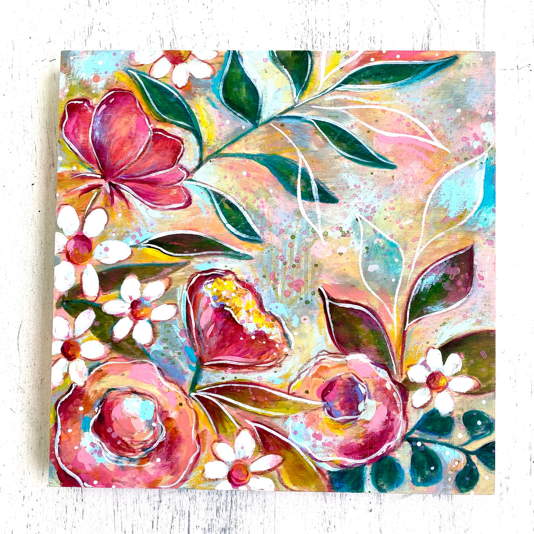 Spring Has Sprung Floral Mixed Media Painting on 8x8 inch wood panel - Bethany Joy Art
