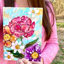 "Load image into Gallery viewer, January Daily Painting Day 2 ""Heart Blooms"" 5x7 inch Floral Original - Bethany Joy Art"