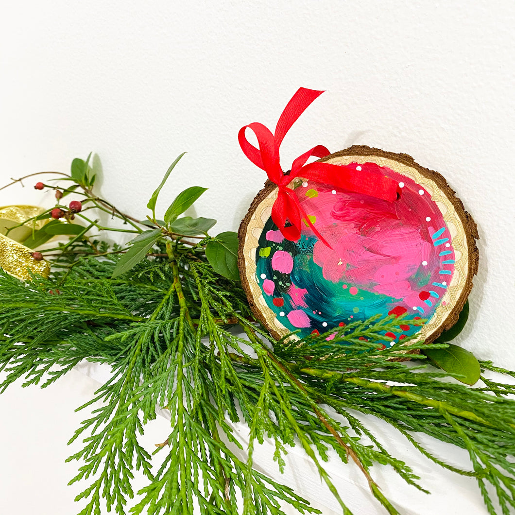 Hand-painted wooden ornament choose your word 34