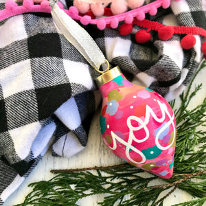 "Hand Painted Ceramic Ornament ""Joy"" Pink Multi-Color"