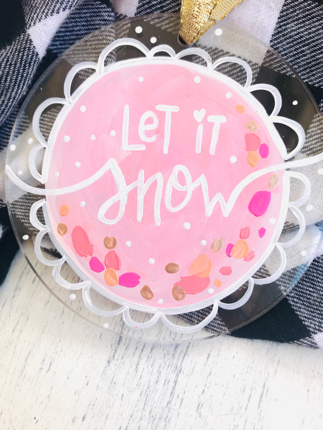 "Hand Painted Clear Acrylic Light Pink Ornament, ""Let it Snow"" - Bethany Joy Art"