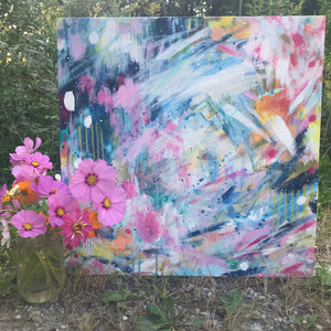 "Abstract Original Painting ""Daydreaming"" 20x20 inch Canvas - Bethany Joy Art"