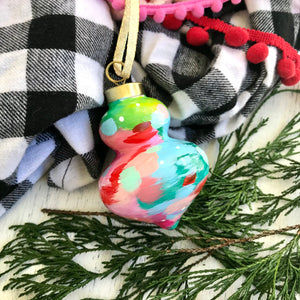Multi-colored Hand-painted Ceramic Christmas Ornament #3 - Bethany Joy Art
