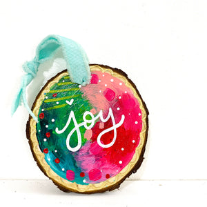 "Hand-painted wooden ornament ""Joy"" #5"