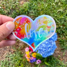 Load image into Gallery viewer, HOLOGRAPHIC Love Heart Vinyl Sticker