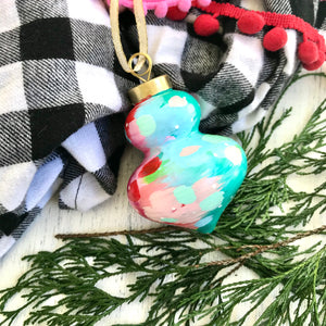 Multi-colored Hand-painted Ceramic Christmas Ornament #2 - Bethany Joy Art