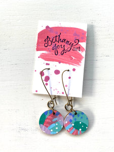 Colorful, Hand Painted Earrings 72