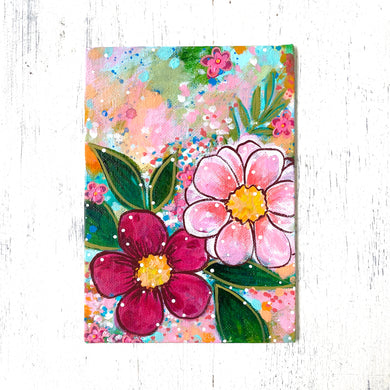 "January Daily Painting Day 26 ""Floral Oasis"" 5x7 inch Floral Original - Bethany Joy Art"