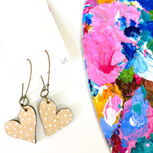Load image into Gallery viewer, Colorful, Hand Painted, Heart Shaped Earrings 65