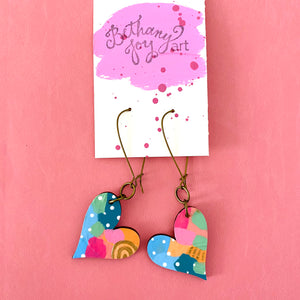 Colorful, Hand Painted, Heart Shaped Earrings 27