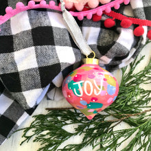 "Load image into Gallery viewer, Hand Painted Ceramic Ornament ""Joy 2"" Pink Multi-Color - Bethany Joy Art"