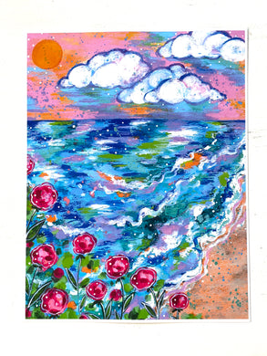 Flowers by the Sea 8.5x11 inch art print