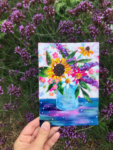 "August Daily Painting Day 11 ""Oceanside Sunset"" 5x7 inch Floral Original - Bethany Joy Art"