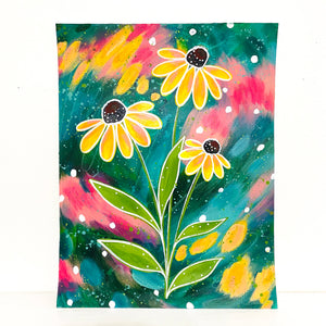 February Flowers Day 26 Black-Eyed Susan 8.5x11 inch original painting