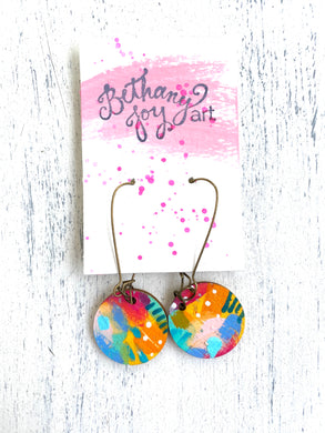Colorful, Hand Painted Earrings 32 - Bethany Joy Art