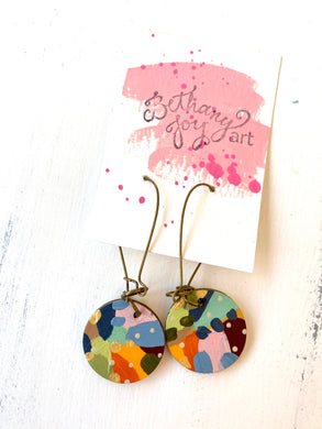 Colorful, Hand Painted Earrings 136