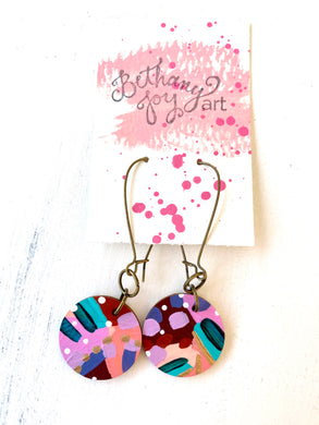Colorful, Hand Painted Earrings 127