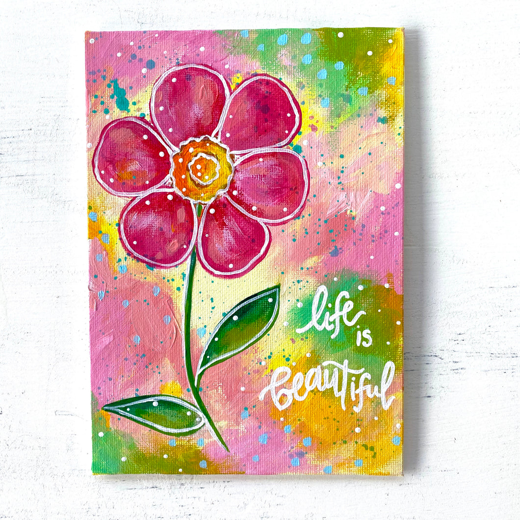 "August 2020 Daily Painting Day 10 ""Love Bloom"" 5x7 inch original"