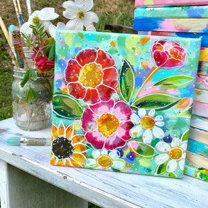 """So Good to be Home"" Floral Original Painting on 8x8 inch Canvas - Bethany Joy Art"