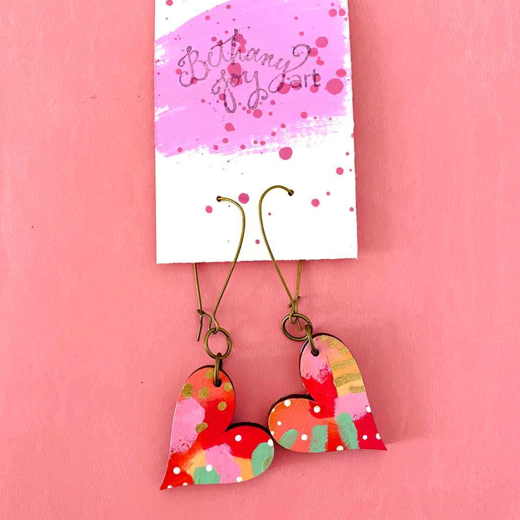 Colorful, Hand Painted, Heart Shaped Earrings 32