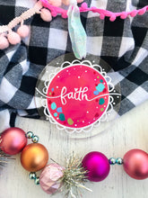 "Load image into Gallery viewer, Hand Painted Clear Acrylic Hot Pink Ornament, ""Faith"" - Bethany Joy Art"