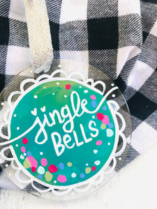 "Hand Painted Clear Acrylic Teal Ornament, ""Jingle Bells"" - Bethany Joy Art"
