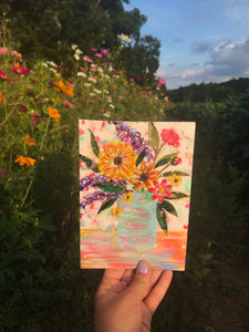 "August Daily Painting Day 19 ""Mountain Wildflowers"" 5x7 inch Floral Original - Bethany Joy Art"