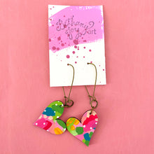 Load image into Gallery viewer, Colorful, Hand Painted, Heart Shaped Earrings 6