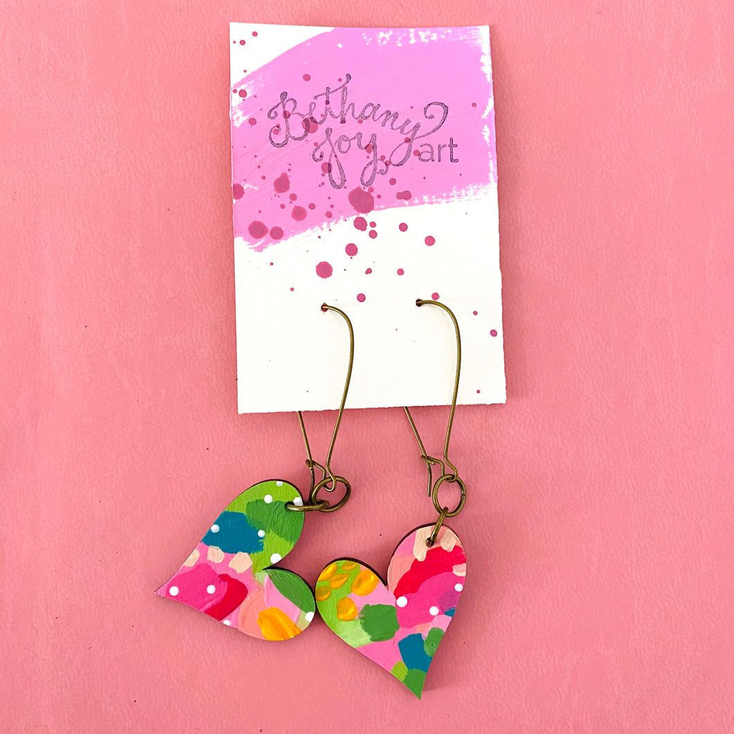 Colorful, Hand Painted, Heart Shaped Earrings 6