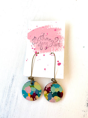 Colorful, Hand Painted Earrings 124