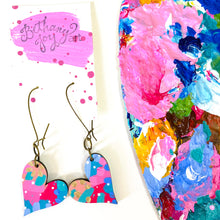 Load image into Gallery viewer, Colorful, Hand Painted, Heart Shaped Earrings 55