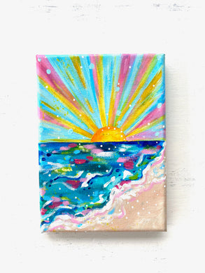"""Sun and Sea"" 5x7 inch Original Coastal Inspired Painting on Canvas with painted sides"