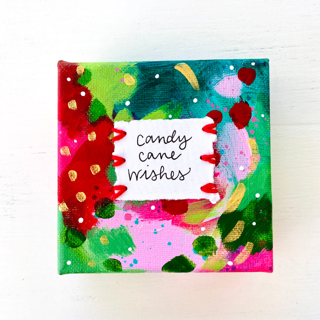 Candy Cane Wishes 4x4 inch original abstract canvas with embroidery thread accents