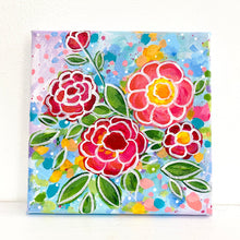 "Load image into Gallery viewer, ""Keep Blooming"" 5x5 inch original painting on canvas"
