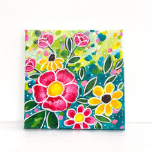 "Load image into Gallery viewer, ""Wildflower Love"" 5x5 inch original painting on canvas"