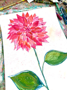 February Flowers Day 5 Dahlia 8.5x11 inch original painting