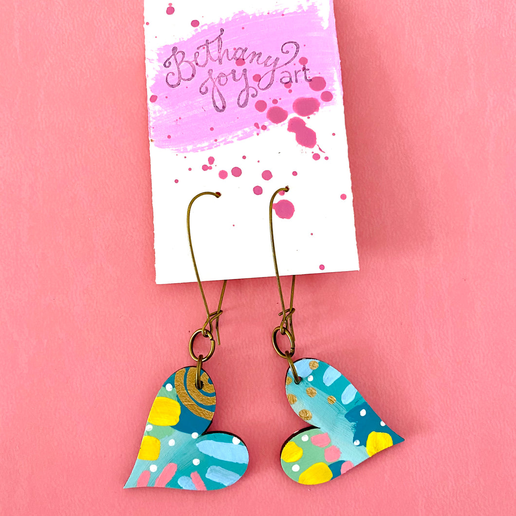 Colorful, Hand Painted, Heart Shaped Earrings 13