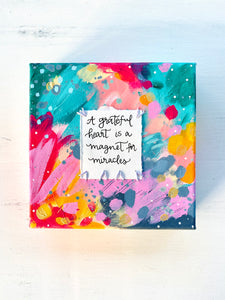 Grateful Heart 6x6 inch original abstract canvas with embroidery thread accents